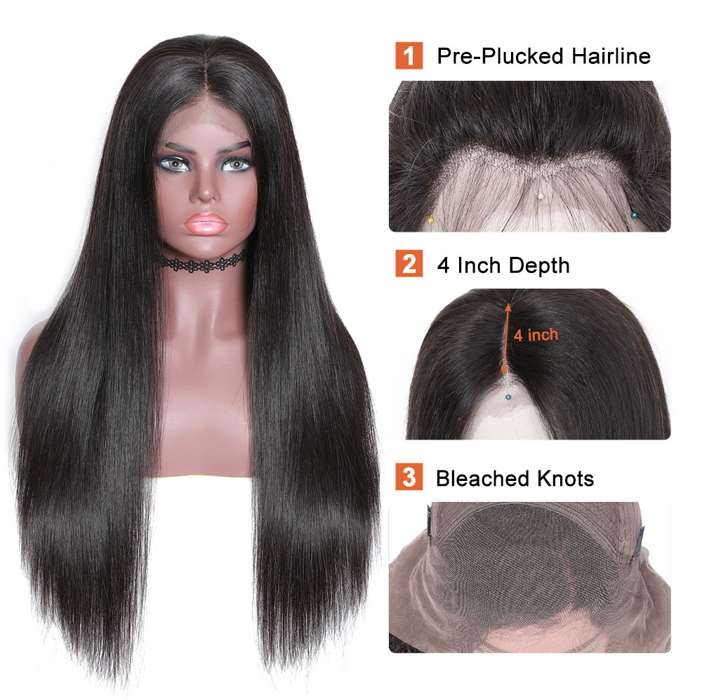 Nadula 4*4 Lace Closure Mid Part Human Hair Wigs Straight High Quality 150% Density Wigs