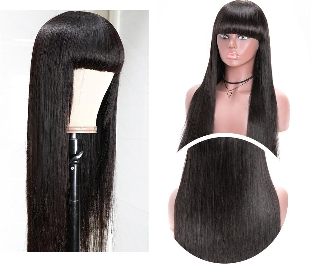 Nadula Natural Long Silky Straight Wig With Bangs 100% Human Hair Wig Capless Wig