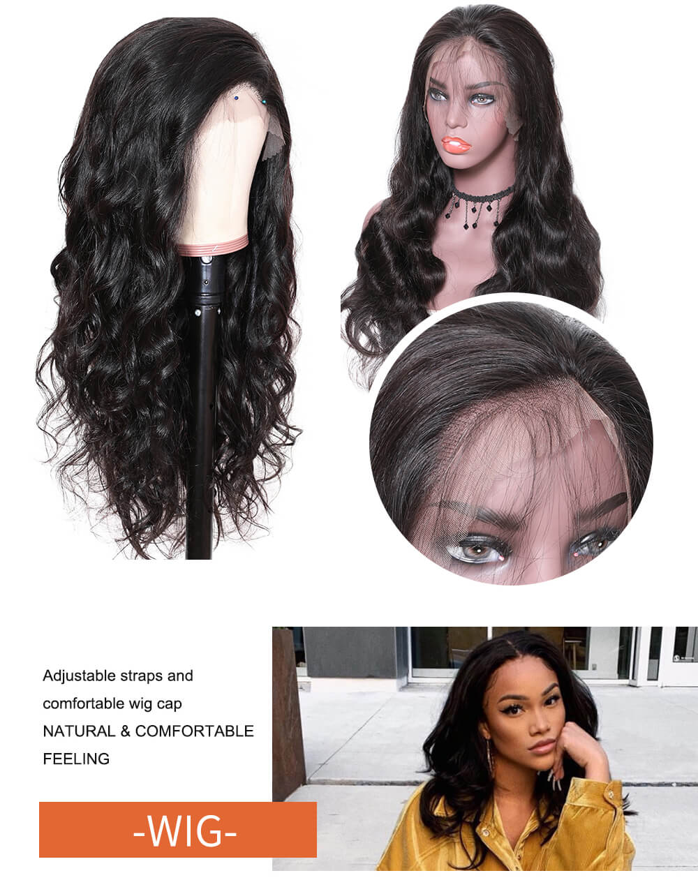 Nadula 4-4 Lace Closure Human Hair Wigs Long Body Wave With Baby Hair 180% Density Wigs