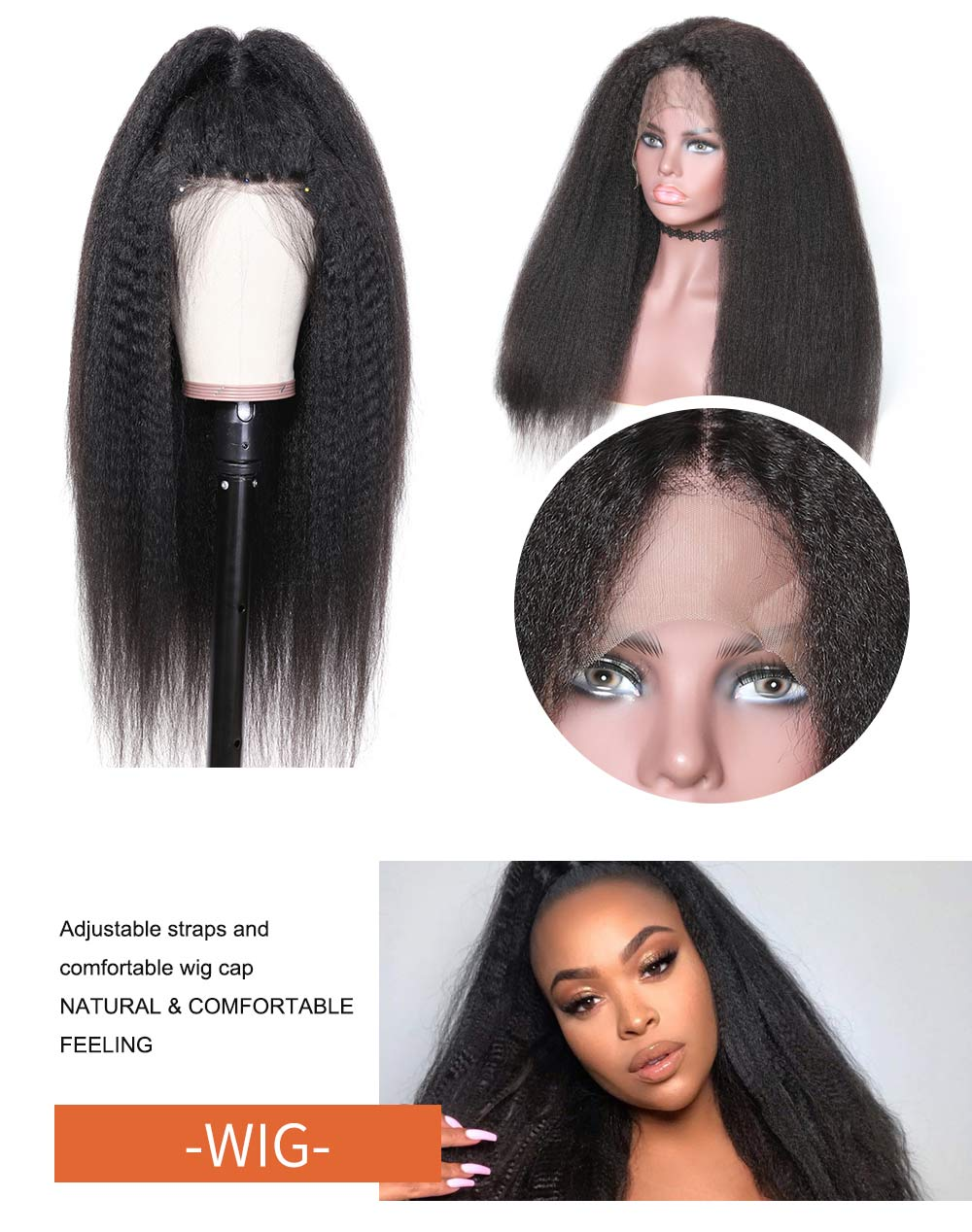 Nadula High Quality Lace Front 150% Density Kinky Straight Pre Plucked Hair Wigs Soft