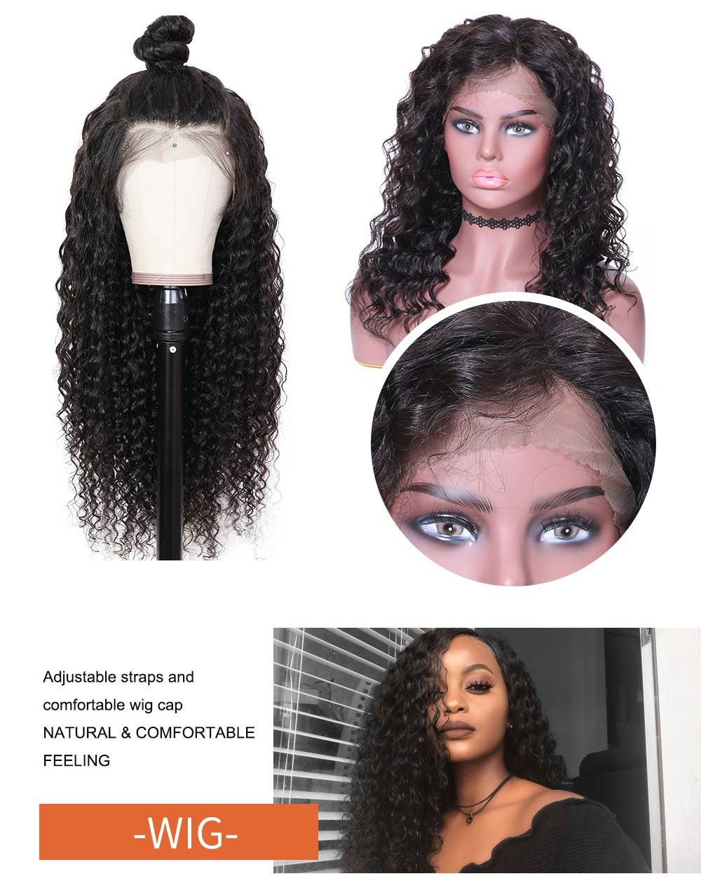 Nadula Virgin Human Hair Wigs Online Sale Lace Front Deep Wave 150% Density Wigs